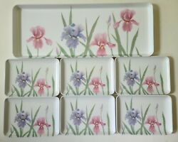 Mebel P67 Melamine Irises Flowers 1 Tray And 6 Snack Tip Pink Purple Italy 15x6