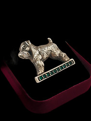 Vintage 925 Sterling Silver And Green Stones Miniature Schnauzer Dog Pin Brooch