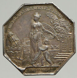 1828 France King Louis Xviii Antique Insurance Token French Silver Medal I94291