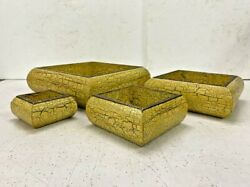 Vintage Handcrafted Wooden Brass Work Cracking Painted Bowl / Tray -set / 4