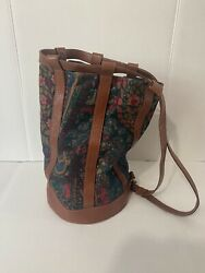 Vintage Bucket Women Purse Backpack Rucksack Floral Tapestry Canvas Leather 90s $55.00