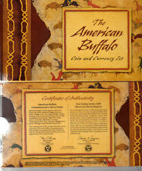 2001 American Buffalo 1 Silver Commemorative Coin Stamp And Currency Sealed Set