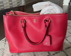Tory Burch Robinson Large Double zip Tote Bag Red $100.00