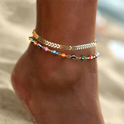 Women Double Ankle Bracelet Silver Anklet Foot Jewelry Girl#x27;s Beach Chain US