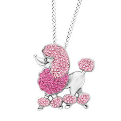 Cubic Zirconia Poodle Dog Pendant W/chain 14k White Gold Over Sterling Silver