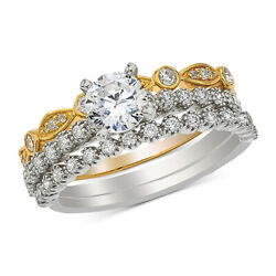 1ct Diamond Bridal Set Ring In 14k White And Yellow Gold For Christmas Special