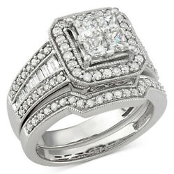 1-5/8 Ctw Diamond Square Halo Bridal Set In 14k White Gold Christmas Special