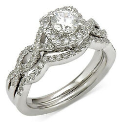 1.00 Cttw Certified Diamond Bridal Set Ring In 18k White Gold Christmas Special