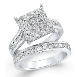 2 Ctw Diamond Square Cluster Bridal Set In 14k White Gold Christmas Special