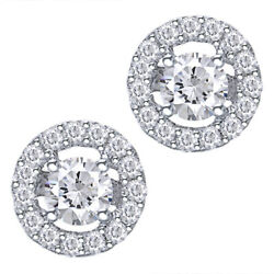 0.50 Ct Natural Diamond Halo Stud Earrings In 14k White Gold Christmas Special