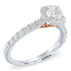 Diamond Two-tone Halo Engagement Ring 14k White And Rose Gold Christmas Special