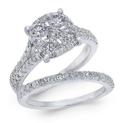 2 Ct Diamond Cluster And Pavé Bridal Set In 14k White Gold Christmas Special