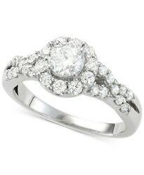 1-1/7 Cttw Diamond Halo Engagement Ring In 14k White Gold Christmas Special