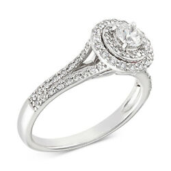 3/4 Ct Certified Diamond Halo Engagement Ring 14k White Gold Christmas Special