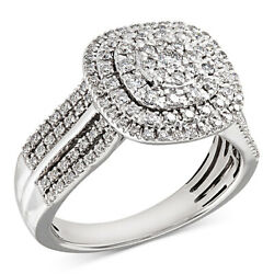 3/4 Ct Diamond Cluster Engagement Ring In 14k White Gold Christmas Special