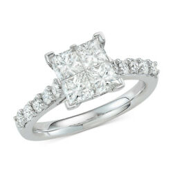 2.00 Cttw Diamond Princess Engagement Ring In 14k White Gold Christmas Special