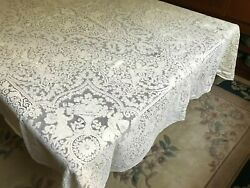 Atq Vintage Ivory Color Quaker Lace Tablecloth Cherubs Floral Pattern 66x90and039and039