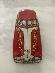 """Vintage/antique Marx 1950's Tin Toy Friction Car Fire Chief/department 11"""" Long"""