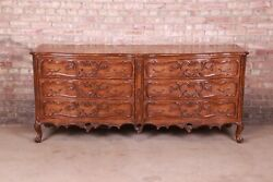 Lewis Mittman French Provincial Louis Xv Carved Walnut Double Dresser