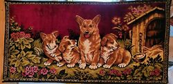 Vintage Tapestry Wall Hanging...welsh Corgi Mommy And Puppies...oh My Gosh Cute