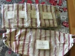 5 X Pottery Barn 14x9.5x11h Basket Liner Beige And Red Stripe Cotton - Medium