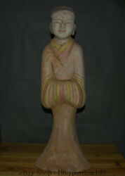 26.8 Antique China Ceramics Pottery Carved Maidservant Woman Statue Sculpture