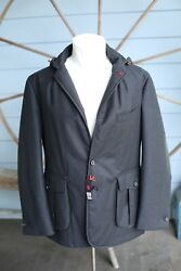Nwt Isaia Wool Sport Coat Jacket 40r Leather Detail Hunter Green 4995