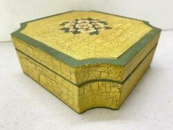 Vintage Handicraft Wooden Floral Cracking Painted Spice / Dry Fruit Storage Box