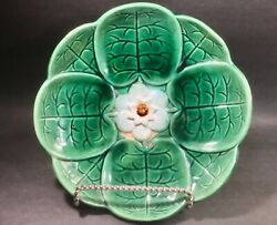 Antique Majolica Water Lily Pad And Flower Footed Bowl 10.25 Inches Wide C.1800's