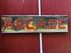 Vintage Lighted Chrome Metal Arcade Sign With Chasing Lights Shipping Available