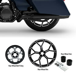 18 X 5.5and039and039 Rear Wheel Rim And Hub And Belt Pulley Sprocket Fit For Harley Flhx Fltr