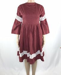 Vintage 80s Prairie Dress Calico Victorian Cottagecore Bell Sleeve 1980s Lace