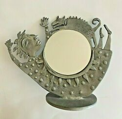 Leandra Drumm Pewter Mirror Mrs. Barker Whimsical Woman And Dog
