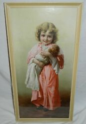 Genuine Early 1900 Antique Yard Long Print Girl Holding Doll Frame Bright Color