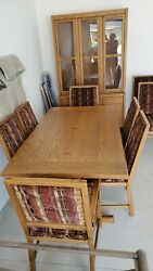 Mid-century Connat Ball Dining Room Set With 8 Chairs And Hutch Bow Tie Inlays