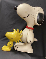 Rare Vintage 1970s Snoopy Woodstock Peanuts Store Display Painted Rubber Figures