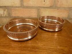 2 Vintage Wine Bottle Coasters Silver Plated On Copper