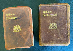 Antique King Henry William Shakespeare Leather Bound Mini Books Lot Part I And Iii