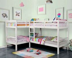 Transitional White 4 Twin Bunk Beds Attached Ladder Kids Bedroom Solidwood Slats