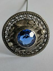 Antique Silvertone Blue And Clear Glass Jeweled Hat Pin 9 5/8 Long