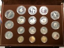 18 Silver And Gold Proof Coins Set 1984 Winter Olympic Games Sarajevo Yugoslavia