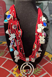 Don Lucas Necklace Sterling Red Trade Beads 8 Strand 26 12oz 337gr