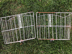 2 Vintage Bicycle Metal Wire Front Baskets