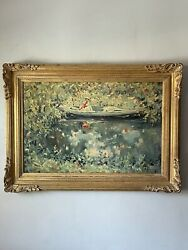 Large French Impressionist Antique Oil Painting Woman Boat Modern Abstract 1950s