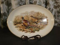 Oval Ceramic Country Scene Platter With A Pair Of Pheasants. Made By Sabin.