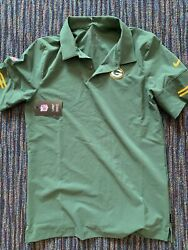 Nike Green Bay Packers Logo Sideline Elite Performance Polo Sz S Nkcl Rodgers