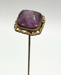 Antique Purple Amethyst Faceted Glass Gold Filigree Hat Pin Large