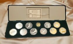 Canada 1988 Calgary Olympic Gold Proof Set With 10 Silver Coins + 1 Gold - Rare