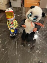 Vintage Lot Of 2 Antique Wind Up Toys From Japan Panda And Tin Lithographed Dog