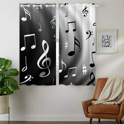 Music Musical Notes 2pcs Blackout Curtain Panel Living Room Window Drapes Gifts